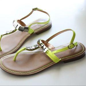 Neon fluorescent Yellow Patent Sandals